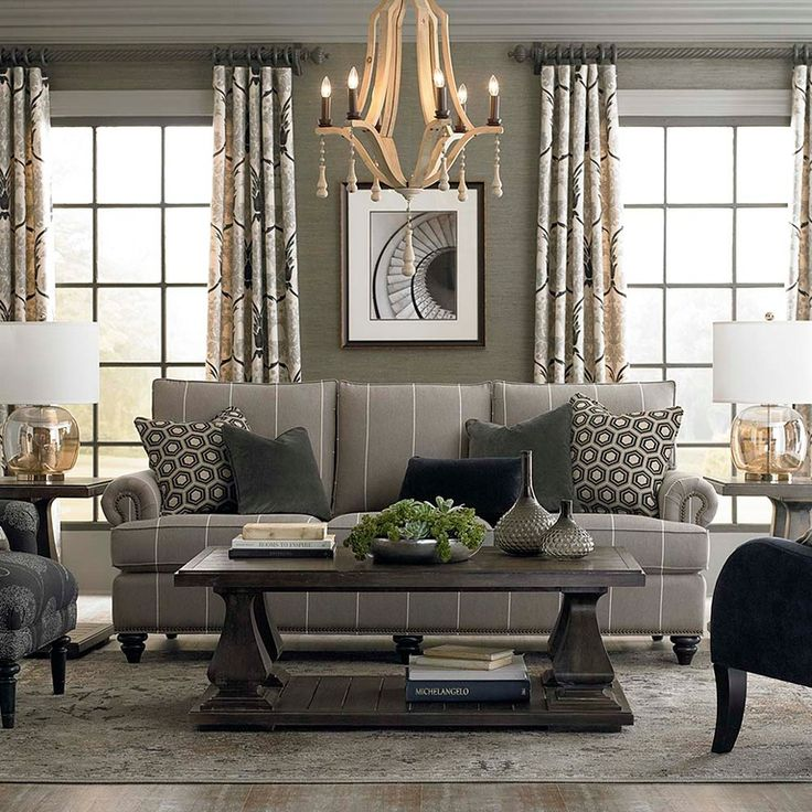 Transitional living room with chandelier bassett for Transitional living room furniture ideas