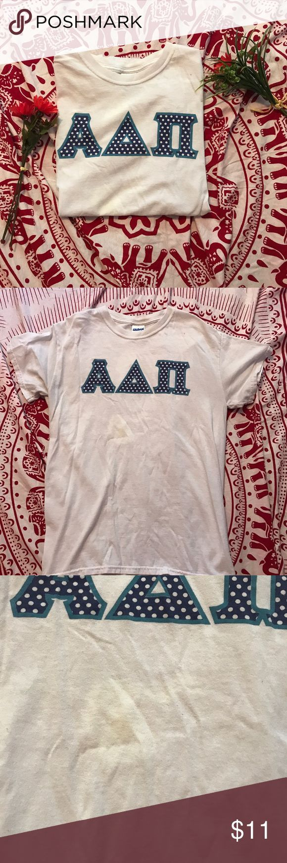 Polka Dot Alpha Delta Pi Letter Shirt Show off your ADPi spirit with this polka dot letter shirt! There is a small discoloring below letters, but it is not terribly noticeable and could possibly come out in the wash! Open to offers! Gildan Tops Tees - Short Sleeve
