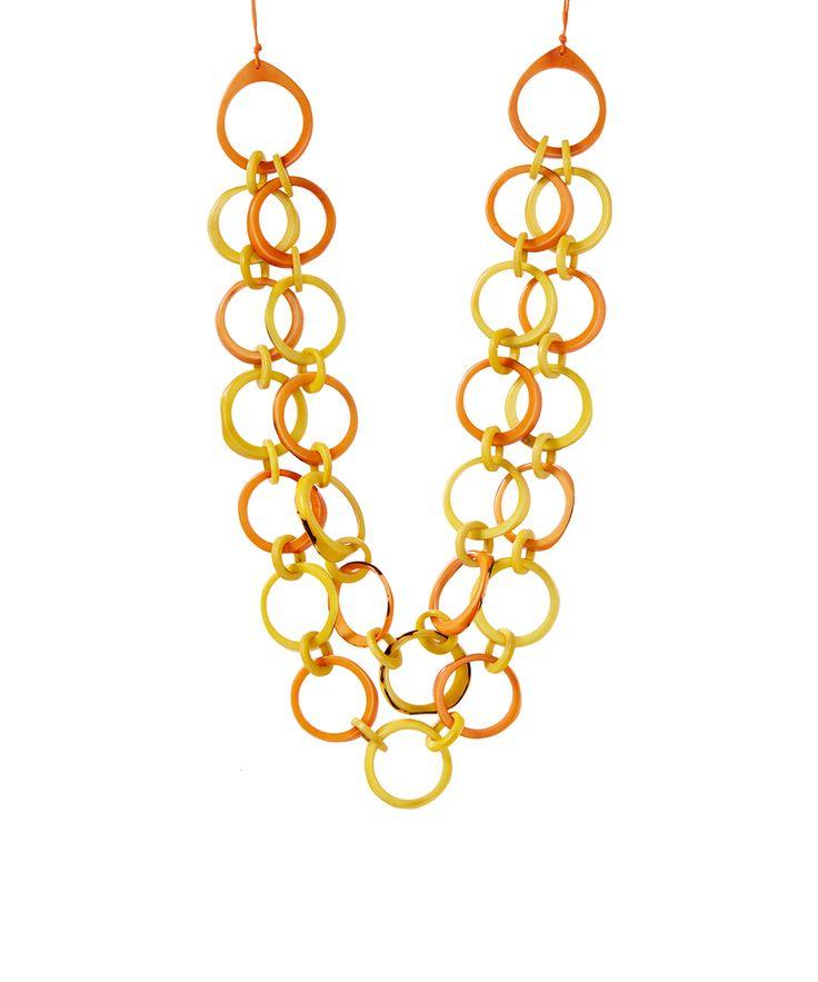 Orange Ring of Life Bib Necklace