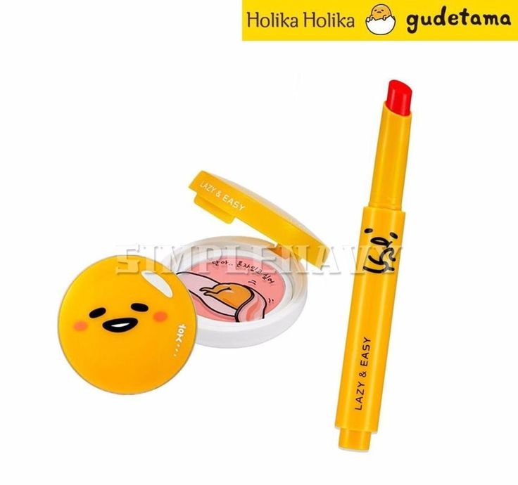 Holika Holika Gudetama Gift Set (Blusher #01+Lip Button #01) + Gift Samples…