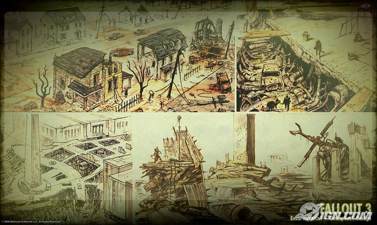 Fallout 3: damaged buildings