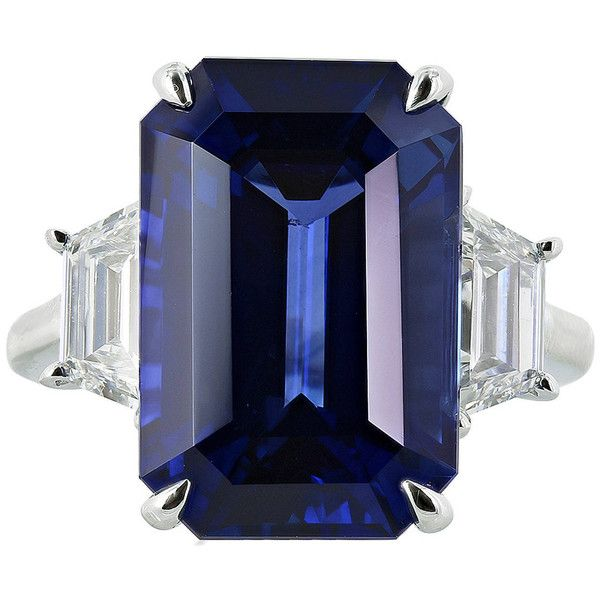 Pre-owned 14.15 Carat Ceylon Sapphire Diamond Ring ($155,000) ❤ liked on Polyvore featuring jewelry, rings, three-stone rings, emerald cut ring, sapphire jewelry, womens jewellery, pre owned diamond rings and diamond jewelry