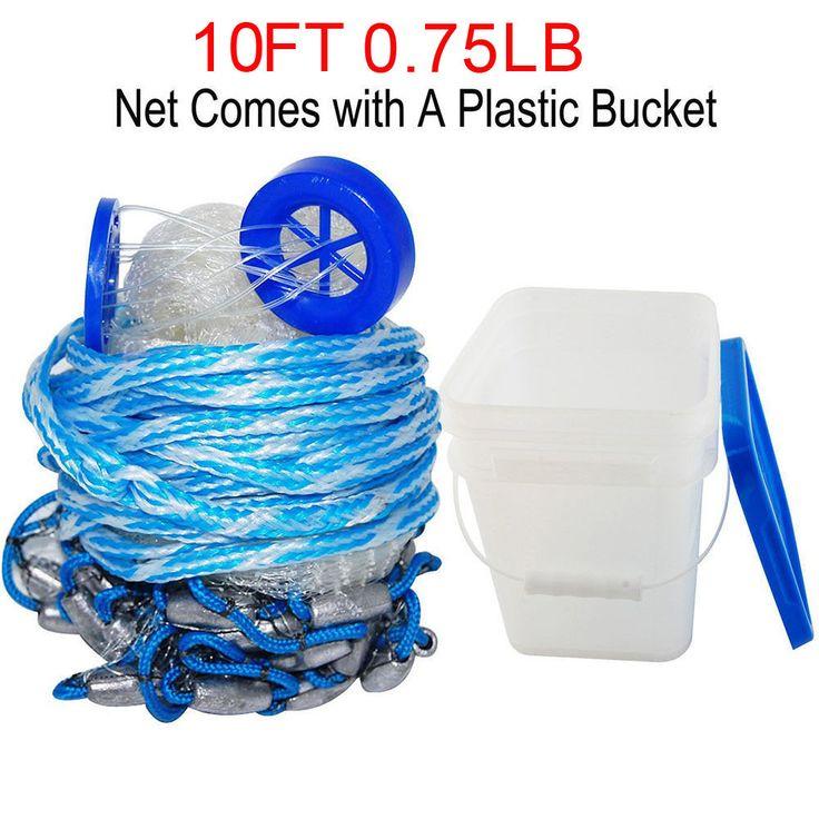 Hyaena 10Feet Radius 0.75LB Fishing Cast Net American Heavy Duty Real Lead Weights Hand Throwing Trap Net With Bucket