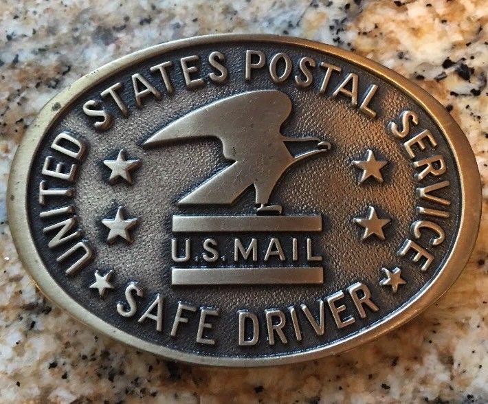 UNITED STATES POSTAL SERVICE SAFE DRIVER BELT BUCKLE Jostens Brass Vintage  | eBay