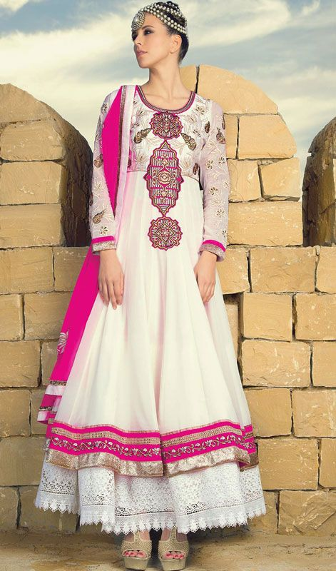 Cream and Off White Net Layered Long Anarkali Suit Price: Usa Dollar $187, British UK Pound £110, Euro138, Canada CA$201 , Indian Rs10098.