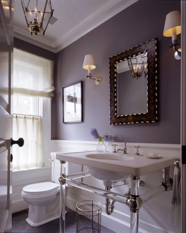 Purple gray walls in powder room on Nantucket by Victoria Hagan.