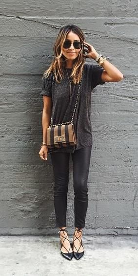 all black. spring style. pointed ballet flats.