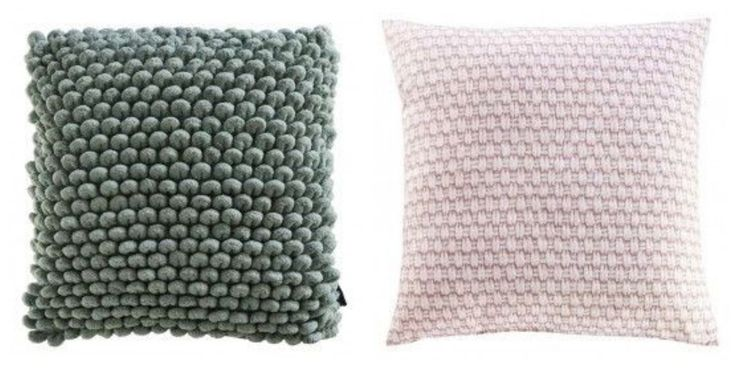 Puffy old green and blush woven pillows as home decor. #prontowonen #droomwoonkamer