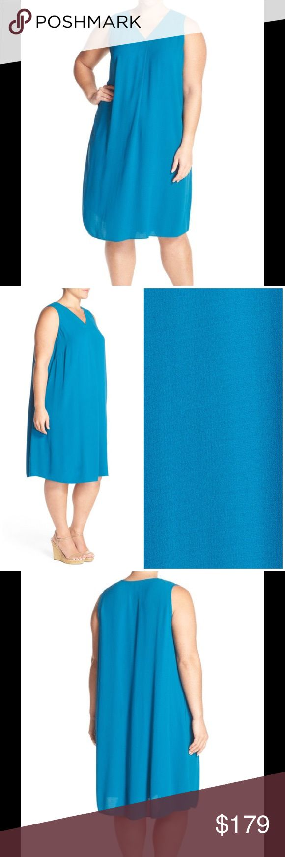 """🆕 Eileen Fisher 100% silk Shift Dress jewel blue Elegantly simple and luxuriously soft, a V-neck shift that drops to midi length floats about the figure in fluid silk. - 43"""" length  - Slips on over head - V-neck - Sleeveless - Side-seam pockets - Unlined - 100% silk - Dry clean or machine wash cold, line dry Brand new with tag. Retail price $358. Eileen Fisher Dresses"""