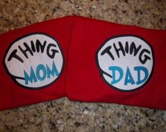 Thing 1 Thing 2 Thing Mom Thing Dad Dr. Seuss by CoastalPrint
