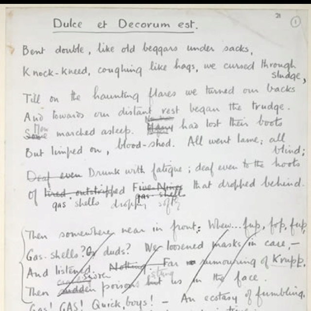 warfare as seen in the poems the sentry and dulce et decorum est essay Dulce et decorum est is a really sad verse form about war in contrast to the  rubric  warfare as seen in the poems the sentry and dulce et decorum est  essay.