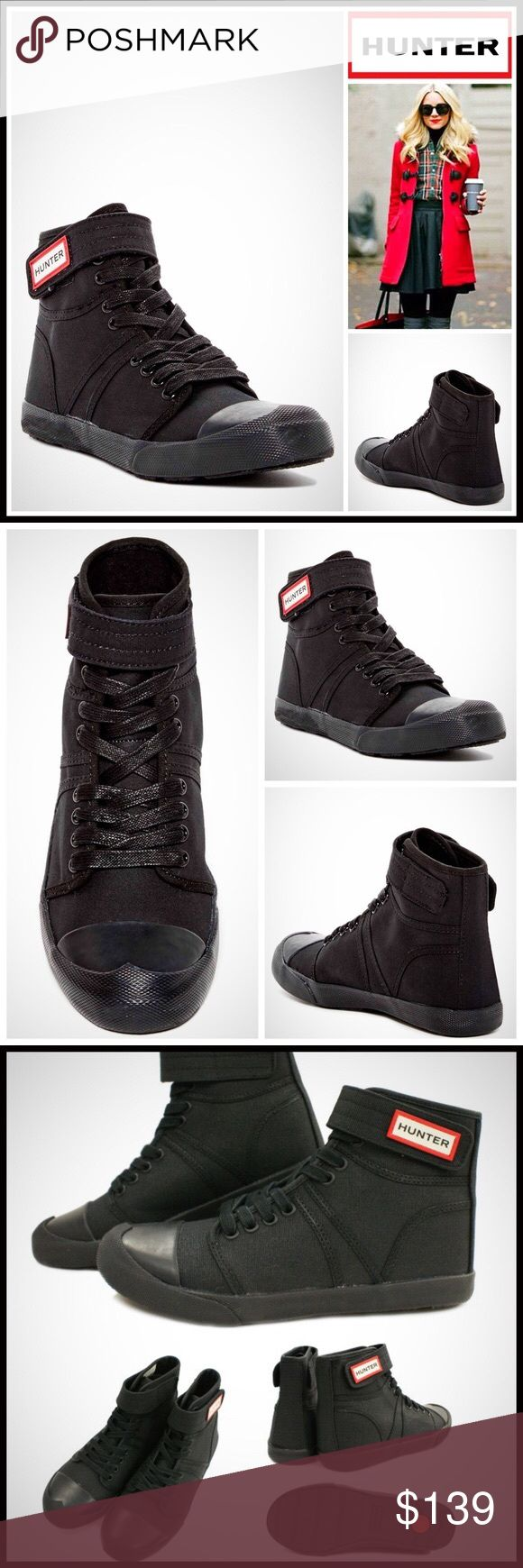 "⭐⭐ HUNTER ORIGINAL SNEAKER BOOTIE HUNTER ORIGINAL SNEAKER BOOTIE   SIZING- True to size. Whole sizes only; for 1/2 sizes, order next size down  COLOR- BLACK   ABOUT THIS ITEM   * Round toe w/bumper   * Bootie / Hi-top silhouette   * Lace-up & hook-and-loop closure   * Removable padded insole   * Grip sole, approx .50"" heel   * Logo detail   MATERIAL Canvas upper, rubber sole   ❌NO TRADES❌ ✅BUNDLE DISCOUNTS✅  OFFERS CONSIDERED (Via the offer button only)   SEARCH WORDS # Hunter Boots Shoes…"