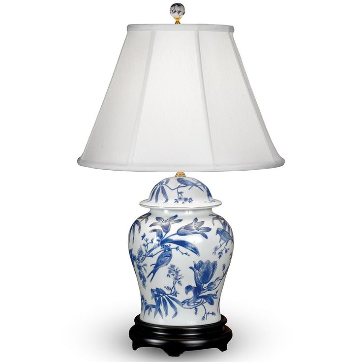 Awesome Bird And Lily Porcelain Table Lamps, Table U0026 Desk Lamps, Off White Piped  Shantung Shades, Matching Handpainted Finials, On Off Switches On Sockets.