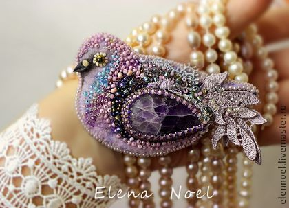 Handmade brooches.  Fair Masters - Violet handmade dove.  Embroidered brooch, felt handmade lace.  Handmade.