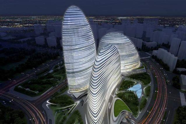 Wangjing SOHO in Beijing by Zaha Hadid Architects. A project called Meiquan 22nd Century in Chongqing, a copy of Hadid's project, was also being constructed at the same time.