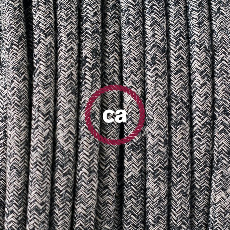 Round Fabric Lighting Flex Electric Cable RS81 weave Onyx Tweed, Natural Linen, finishing Glittering and Black Cotton  #fabric #cable #glitter #glitterin #vintage #light #lighting #illuminazione #cavotessile #tweed #homedecor #homedesign