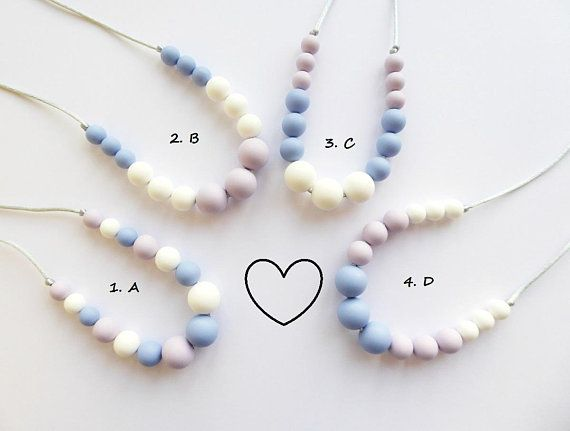 Silicone Beaded Necklace Teether Necklace Silicone Nursing Necklace Baby Teething Necklace Breastfeeding New Mum Gift