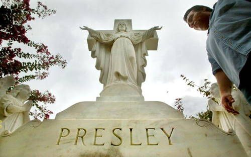 Presley Headstone at Graceland - he is buried under this statue