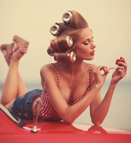 setting hair with POP CAN curlers---VINTAGE