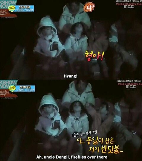 """The moment when Kim Minyool accidentally called Sung Dong Il """"Hyung"""" kekekekekekee"""