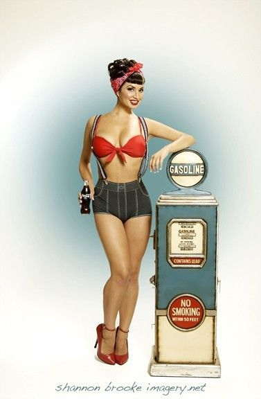 Gas pump pinup  http://thepinuppodcast.com shares this images to support pin up and rockabilly artists, models and photographers.
