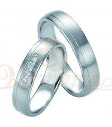 Βέρες γάμου από πλατίνα με διαμάντι Breuning 9076-9077