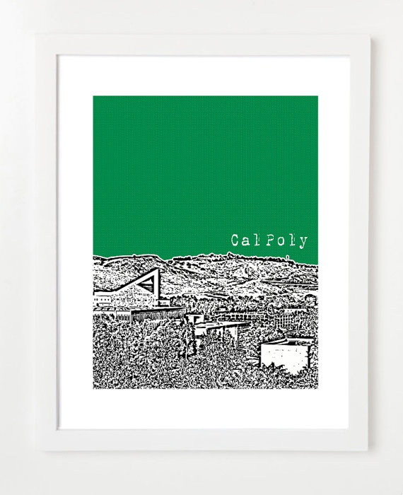 Cal Poly San Luis Obispo Print  SLO  California by birdAve on Etsy, $20.00