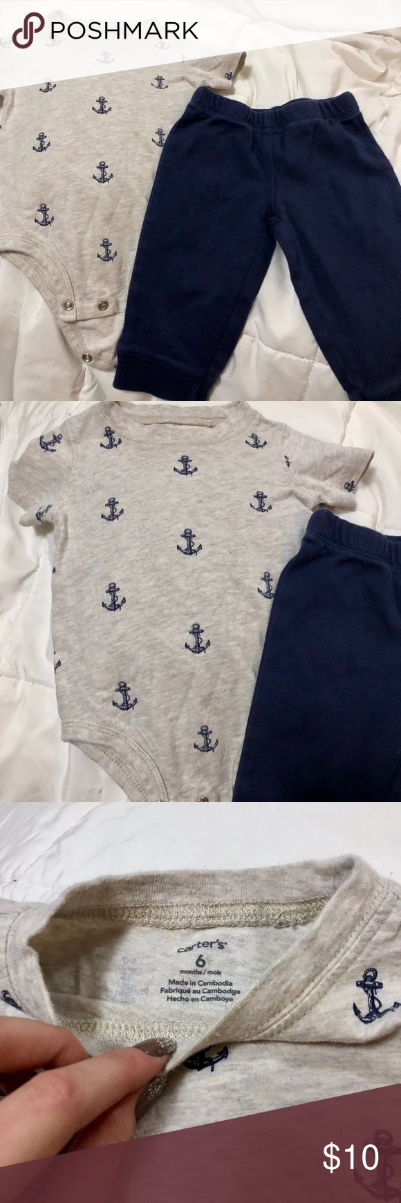 Anchor Outfit bundle of 2 Size 6 months from Carter's. anchor pattern onesie and blue sweatpants. Carter's Matching Sets