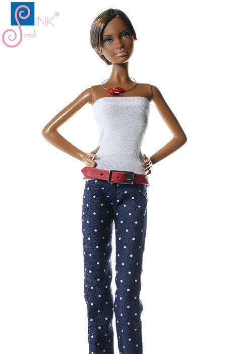 Barbie clothes jeans leather belt: Macola by Pinkscroll on Etsy