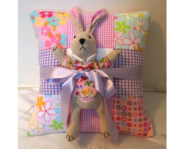 Toy Rabbit and name cushion gift set.