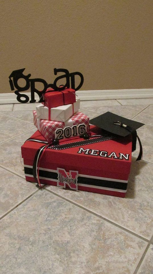 Grad Box with Grad, Year, Name of Grad  and School Emblem Graduation Card Box
