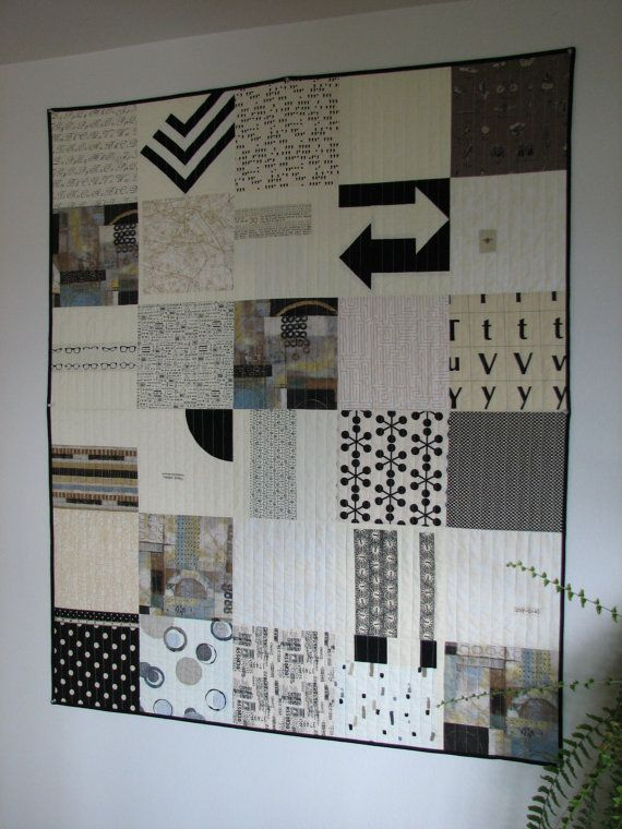 Black and White Modern Quilt Art Quilt Lap Quilt by CentralFabrications