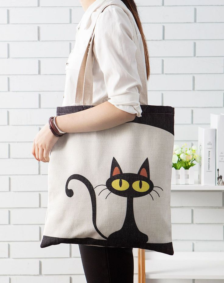 Bolso con gato simpático