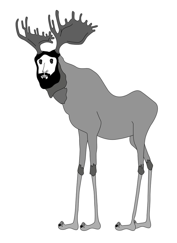 bearded moose with man face, personal designs Inspired by Australian's surf and skate crowd