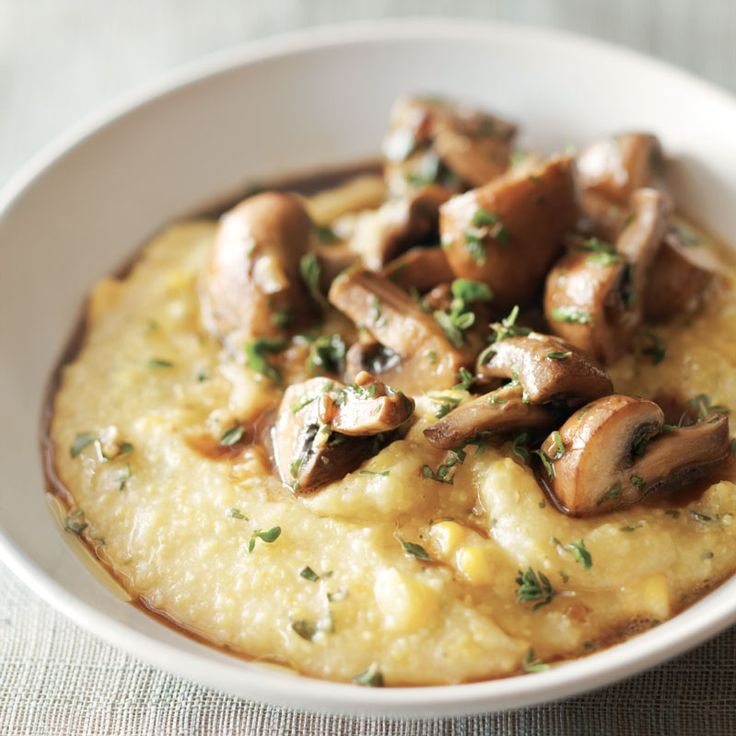 For dinner tonight, try making slow cooker polenta with mushrooms. A topping of creminis adds texture to creamy polenta laced with sweet corn kernels.