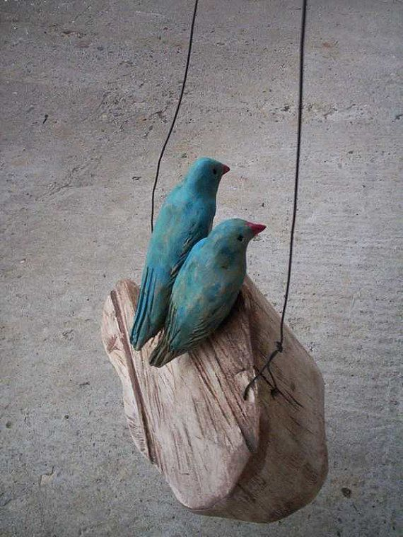 Poland  Love Birds On a Rustic Wooden Cloud Ceramic Mixed by Popielnik  A D O R A B L E !