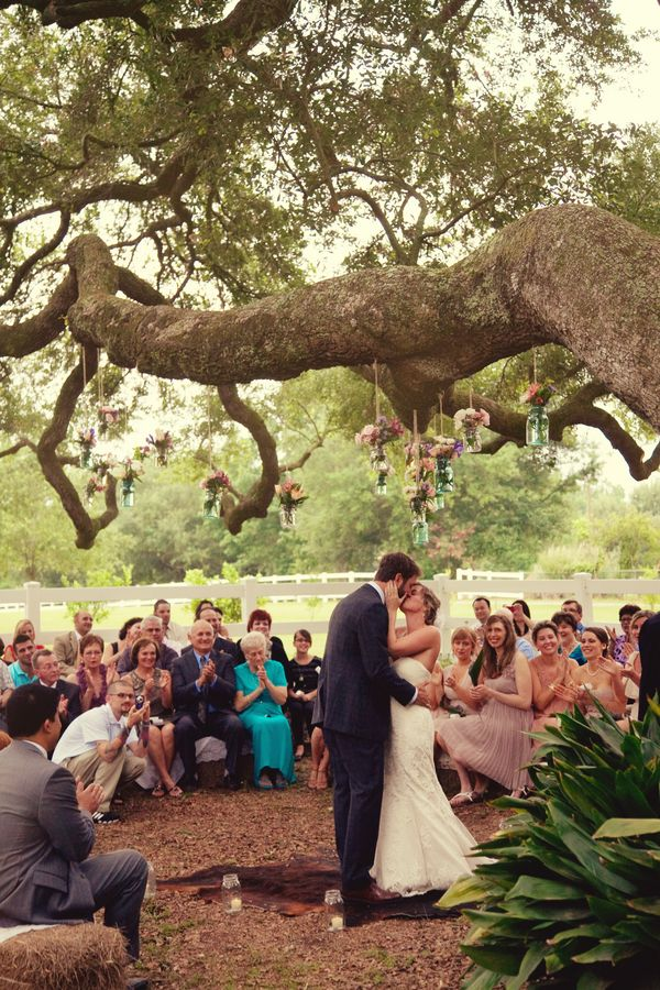 IN LOVE WITH THIS CONCEPT.....looks just like the tree at the barn!  Rustic Louisiana Backyard Wedding by Amelia J. Moore Photography