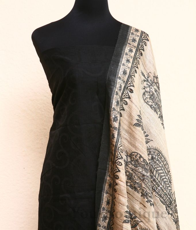 TM038-5 Jute silk dupatta, beige cotton bottom and black jakha top