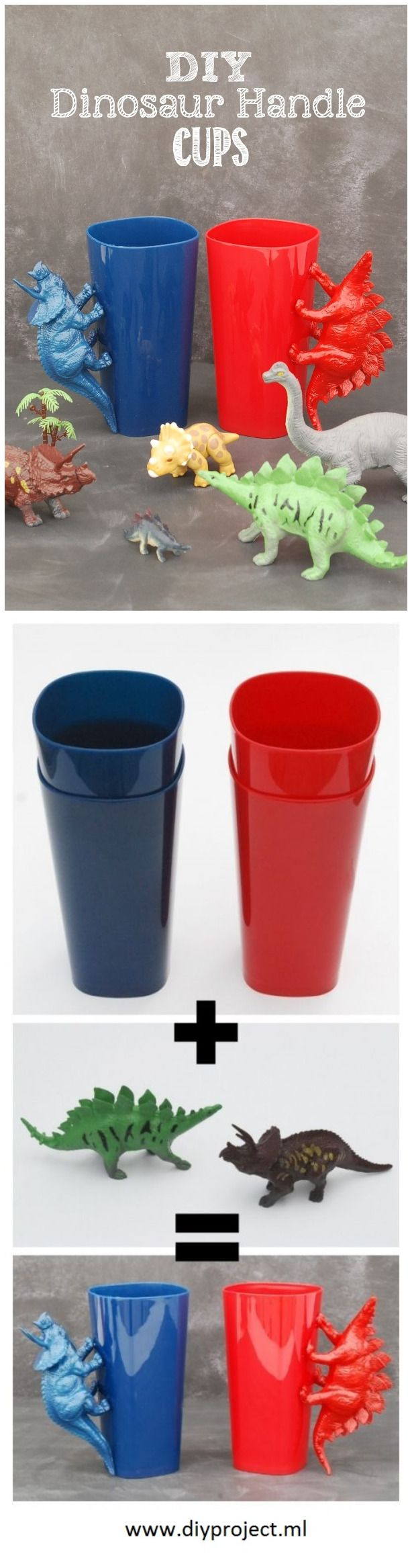 Make Cute DIY Dinosaur Handle Cups