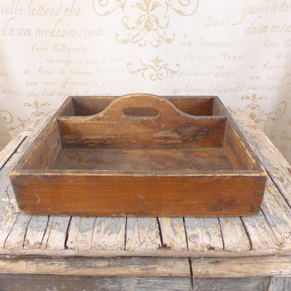 Drewniana skrzynka na sztućce, taca - atelier-Brocante - Przechowywanie