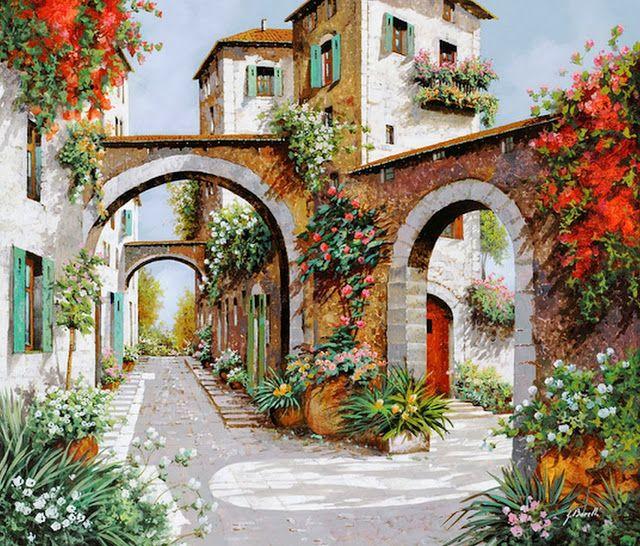 cuadro-al-oleo-de-pueblos-antiguos..........Pintor del Paisajes Europeo Guido Borelli, (taliano) Pueblitos Pintados en Óleo