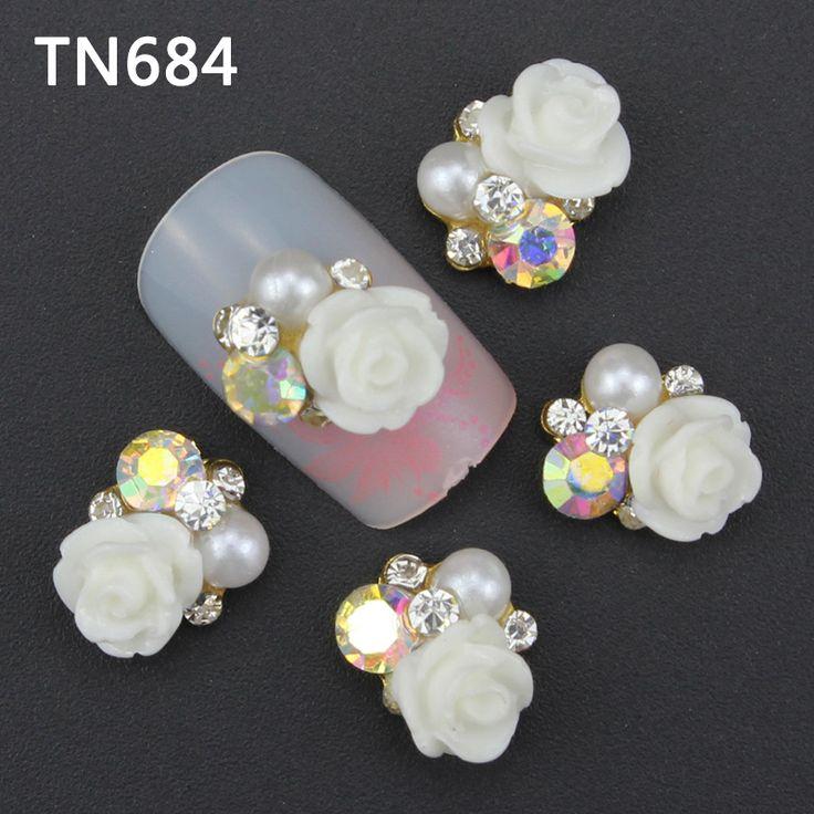 Blueness10pcs/lot nails art decoration charm adesivos glitter rhinestone for strass adesivo flower design acrylic nail TN684