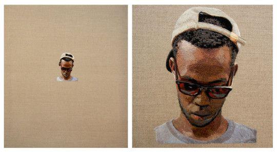 "Daniel Kornrumpf, Line of sight, 2012, 42"" x 36"", hand embroidered on linen"