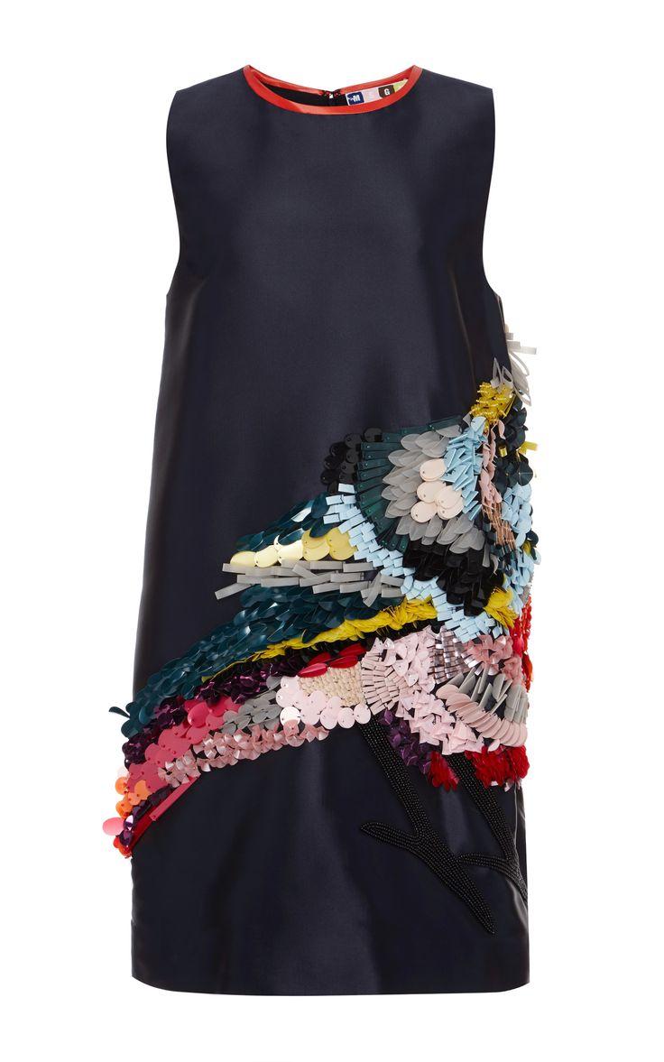 Technical Duchesse Sequined Bird Dress by MSGM for Preorder on Moda Operandi
