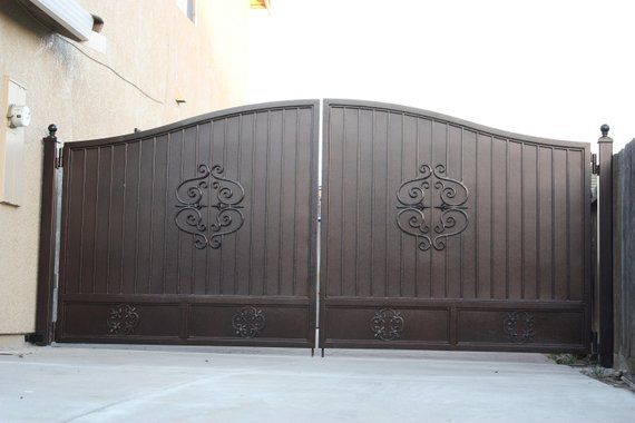 Ornamental Wrought Iron Driveway Rv Access Gate With Center Design
