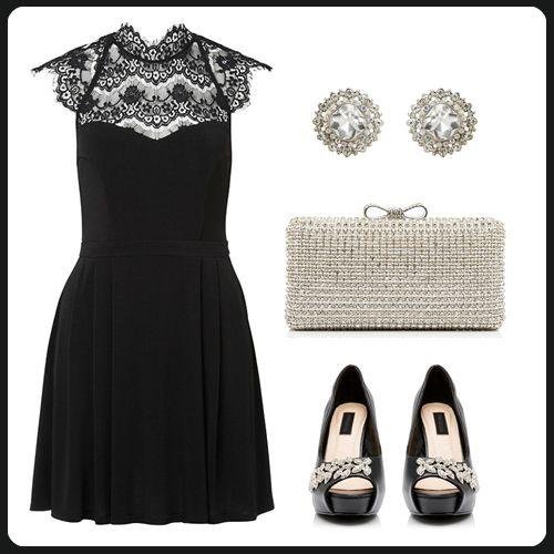 Dantel desenli siyah elbise ışıltılı Forever New aksesuarlarıyla büyüleyici gözüküyor. http://www.forevernew.com.tr/elbise/jdcz0971-michelle-elbiseblack_487_34587