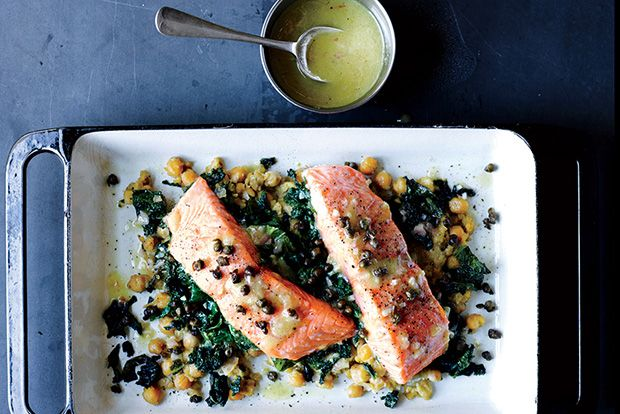 Find the recipe for Slow-Cooked Salmon, Chickpeas, and Greens and other leafy green recipes at Epicurious.com