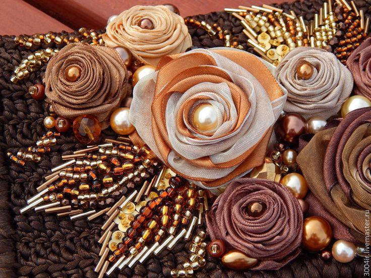 """Купить Клатч """"Симфония роз"""". - коричневый, цветочный, клатч ручной работы…"""