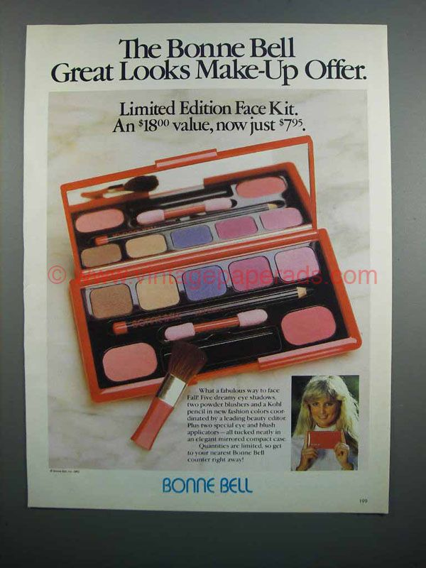 The caption for this ad is ' The Bonne Bell Great Looks Make-up Offer' The ad is in great condition. Description from vintagepaperads.com. I searched for this on bing.com/images