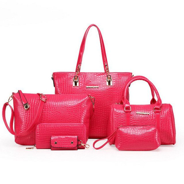 6pcs/set Fashion Crocodile Handbag PU Leather Bag